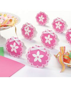 Pink Flower Favor Boxes - Set of 12