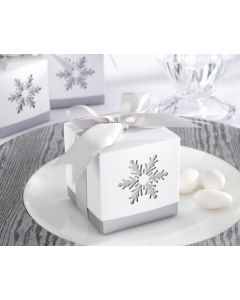 Silver Winter Snowflake Favor Boxes - Set of 24