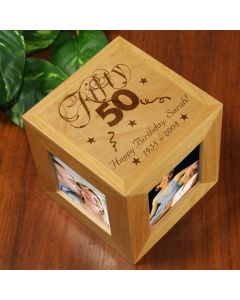 Personalized Happy Birthday Photo Cube Frame