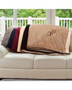 Monogrammed Sherpa Blanket in 6 Colors