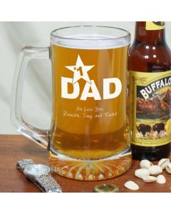 Number 1 Dad Personalized Sports Glass Mug