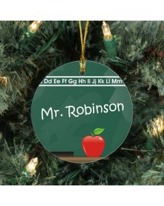 Chalkboard Personalized Teacher Christmas Tree Ornament