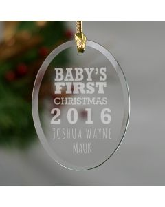 Personalized Baby's First Christmas Glass Christmas Tree Ornament