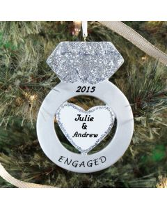 Personalized Engaged Christmas Tree Ornament