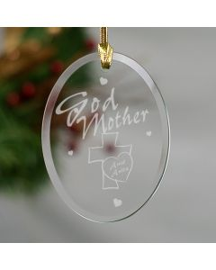 Personalized Godmother Glass Christmas Tree Ornament