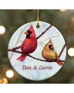 Personalized Winter Cardinals Christmas Tree Ornament