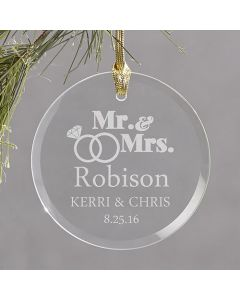 Just Married Personalized Christmas Tree Ornament