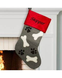 Grey and Red Personalized Dog Christmas Stocking