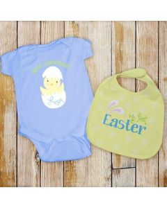 Boys My First Easter Personalized Baby Onesie Bodysuit and Bib Gift Set