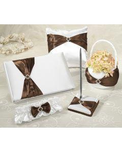 Cream and Brown Satin Sash Wedding Collection Set