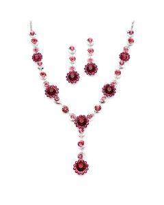 Bright Pink Crystal Flowers Necklace and Earrings Jewelry Set