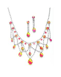 Neon Pink and Green Formal Necklace and Earrings Jewelry Set