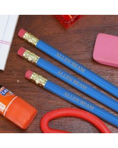 Blue Pencils Engraved with Your Name - Set of 12