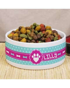 Personalized Paw Print Dog Bowl