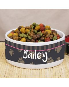 Personalized Paw Print Pet Food Bowl - Choose Your Color
