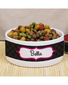 Pink and Black Personalized Pet Food Bowl