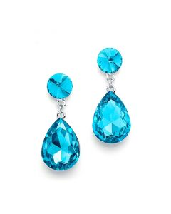 Aqua Crystal Teardrop Earrings