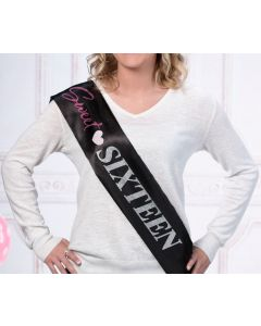 Black Sparkle Sweet 16 Sash