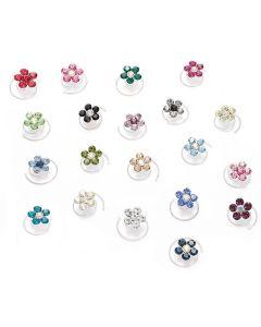 Swarovski Crystal Flower Hair Twists - Set of 12