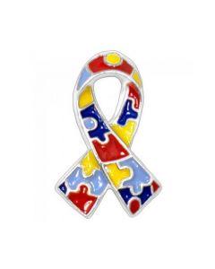Autism Awareness Puzzle Ribbon Enamel Pin Brooch