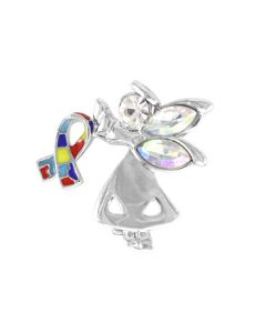 Autism Awareness Silver Angel Pin