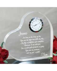 Anniversary Engraved Heart Clock Paperweight Keepsake