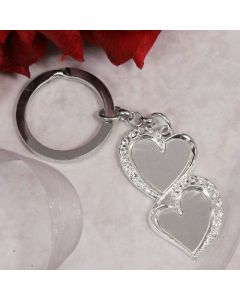 Two Hearts CZ Keychain
