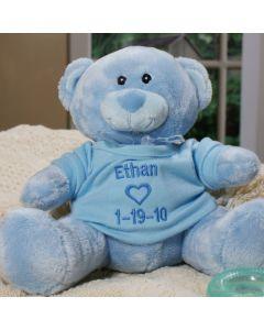 Personalized New Baby Boy Blue Teddy Bear