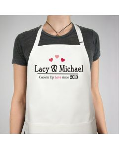 Couples Name Cookin Up Love Personalized Apron