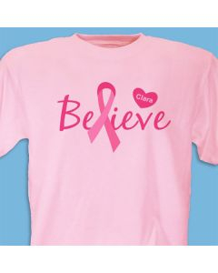 Believe Pink Ribbon Breast Cancer Awareness Personalized T-shirt