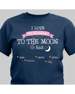 Love You to the Moon and Back Personalized T-Shirt with Kids Names