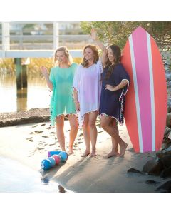 Womens Poms Monogrammed Swimsuit Cover-ups