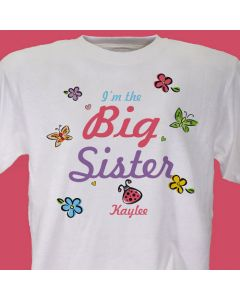 Big, Middle or Little Sister Butterfly Personalized Girls T-Shirt