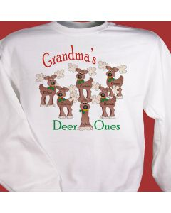 Reindeer Deer Ones Christmas Personalized Sweatshirt with Kids Names