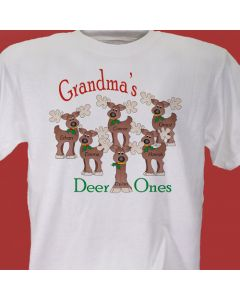 Grandma's Deer Ones Christmas Personalized T-Shirt with Grandkids Names
