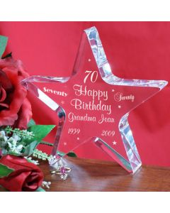 Personalized 70th Birthday Star Keepsake Paperweight