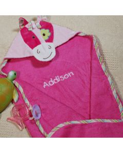 Baby Girl Pony Hooded Towel with Embroidered Name