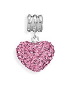 Pink Swarovski Crystal Heart Euro Bead