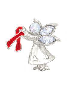 Red Awareness Ribbon Angel Pin Brooch