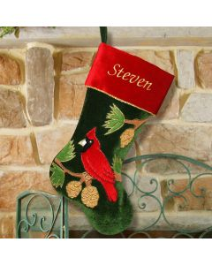 Personalized Cardinal Christmas Stocking