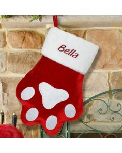Personalized Red Paw Print Christmas Stocking for Dog or Cat