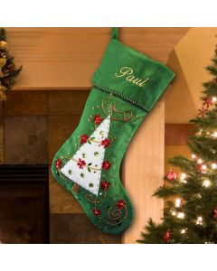 Personalized Green Christmas Tree Stocking