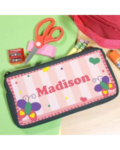 Girls Butterfly Personalized Pencil Bag Case