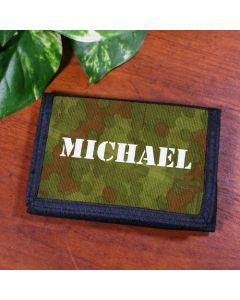 Camo Print Boys Personalized Velcro Wallet